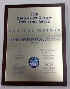 General Motors' 2015 Supplier Quality Excellence Award